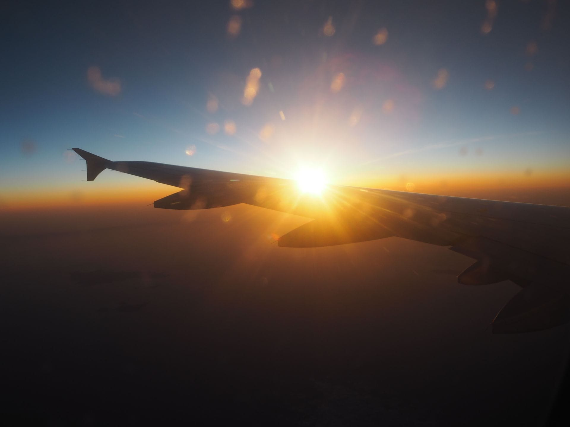 Plane wing with Sunset