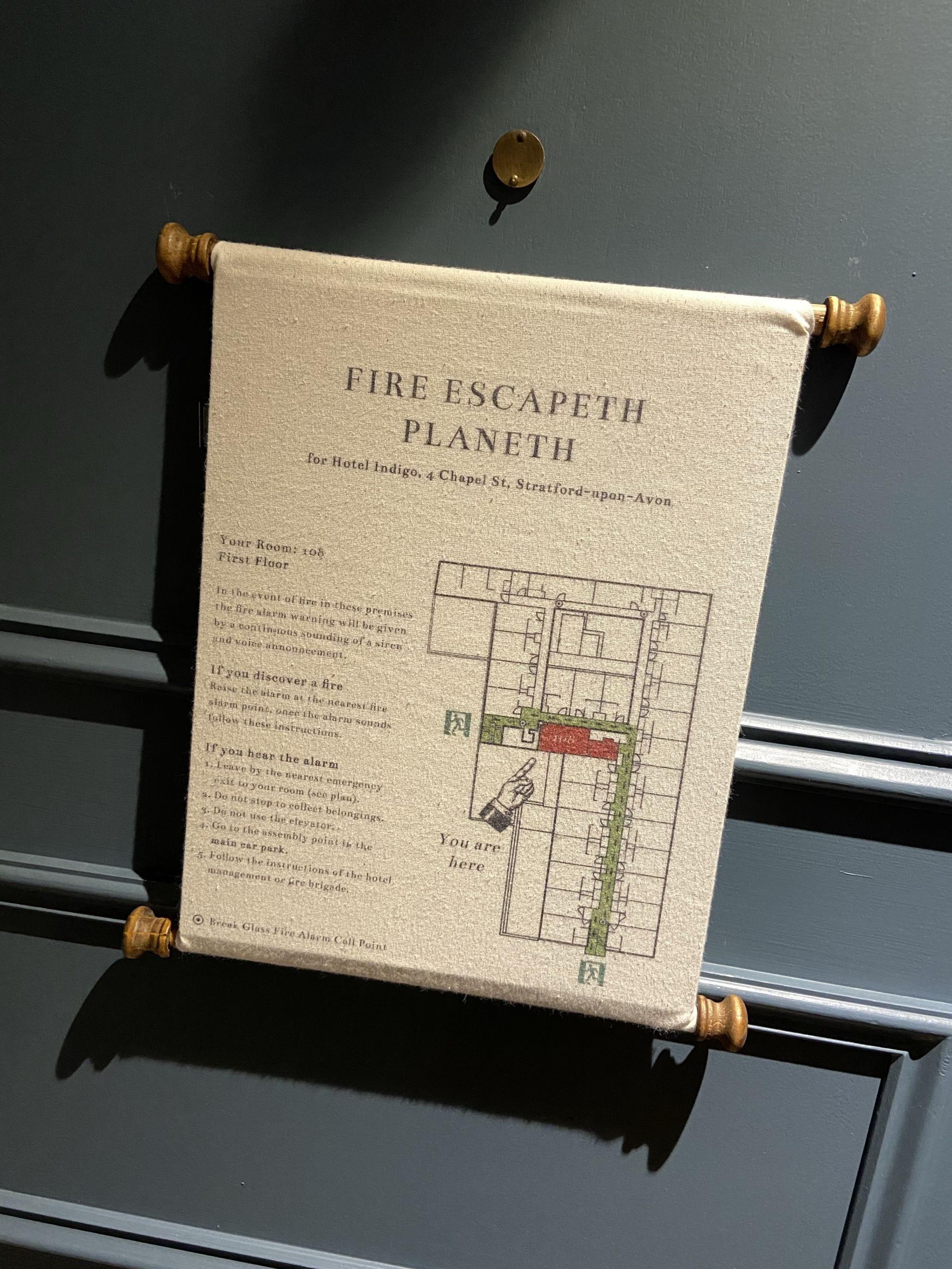 Hotel Indigo Stratford Upon Avon Fire Plan
