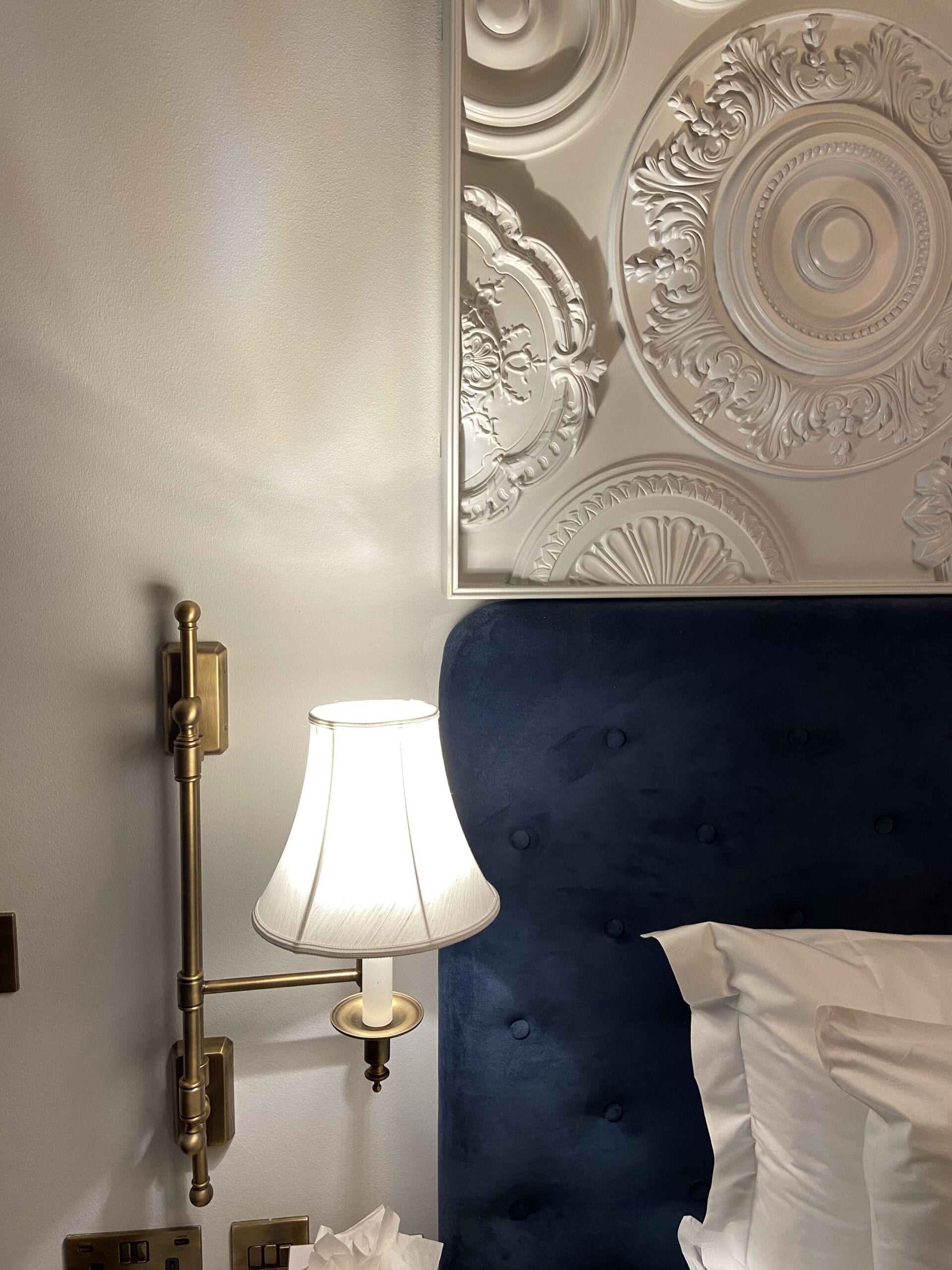 Hotel Bedside Table and Lamp