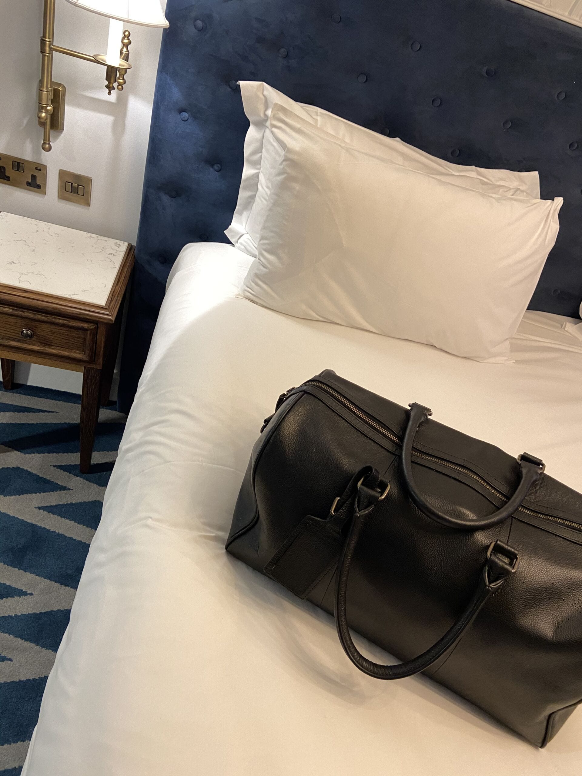 Bag on bed in Hotel